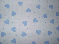 White with Blue Hearts 100% Cotton  Fabric